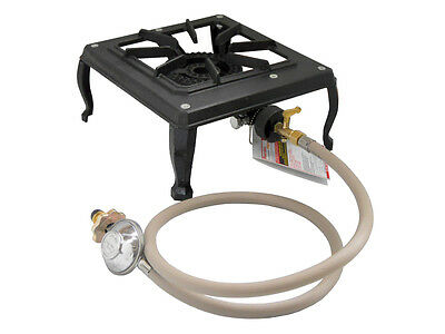 Single 1 Burner Country Cooker Cast Iron LPG Gas Camp Stove with Hose Regulator