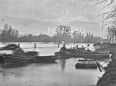 VICTORIAN PARK BOATS LYNMOUTH AREA 1900s LARGE 1/4  PLATE GLASS NEGATIVE N005