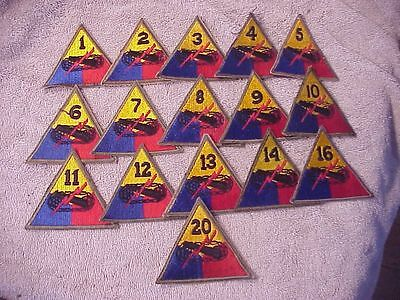 Original Wwii Us Lot Of 16 Different Numbered Armored Division Patches