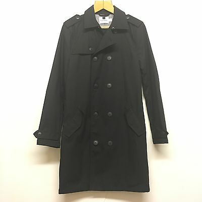 Men's Topman black double breasted wax cotton trench coat size S
