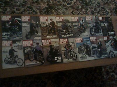 Collection of Greasy Kulture magazines from 1 to 12, choppers bobbers harley