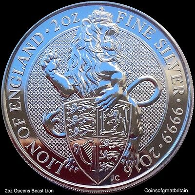 2016 UK £5 Pound Silver 2oz Queen's Beast The Lion