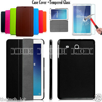 """Samsung Galaxy Tablet Stand Case Cover For Tab E 9.6"""" T560 T561 & Tempered Glass"""