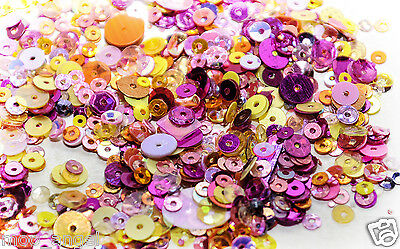 10g of metallic candy coloured sequins all shapes sizes and colours