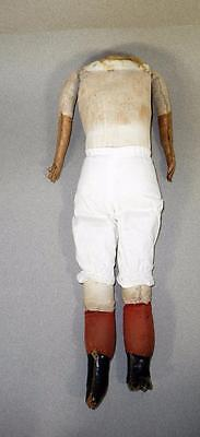 Doll Body, Antique Cloth with Kid Arms, Stitched Fingers, Leather Boots