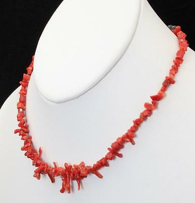 """Vintage Natural Red Branch Coral Necklace 15"""" Long with Sterling End Cap Beads"""