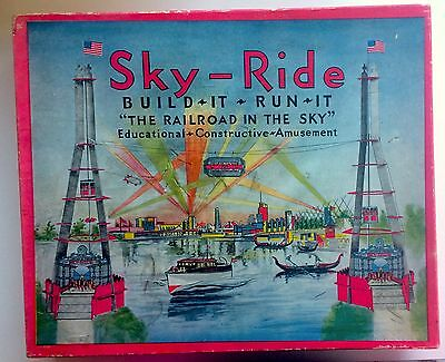 1933 CHICAGO WORLD'S FAIR SKY-RIDE TOY MODEL Orig box. RAILROAD IN THE SKY! RARE