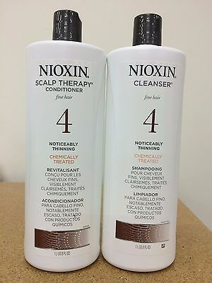 Nioxin System 4 Cleanser & Scalp Therapy for Fine Treated Hair Duo Set, 33.8 oz
