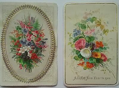 2 GOODALL Victorian Christmas/NewYear  Cards.2 Pretty Florals,  1 is Fold down.