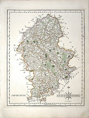 ANTIQUE MAP: STAFFORDSHIRE; JOHN CARY, 1st EDITION 1787 ORIGINAL HAND COLOURING