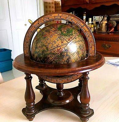 Vintage made in Italy Wooden Zodiac Globe (Map) spins on its axis Mercurio D'oro