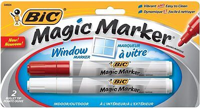 BIC Magic Marker Window Markers, Bullet, White & Red 2 Pack