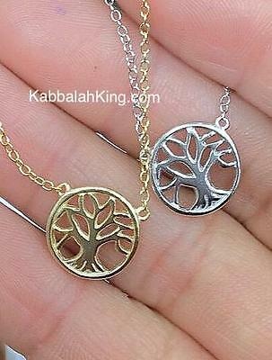 """Yellow Gold Sterling Silver Tree of Life Dainty Halo Pendant Necklace 16""""-18"""" L"""