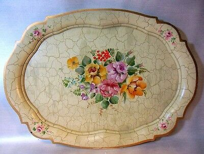 Vtg Hand Painted Wood Tray DENMARK Flowers Bouquet Tole Garden Chic
