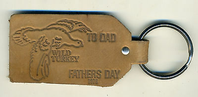 Wild Turkey Bourbon Whiskey Leather Key Ring Fathers Day 1978 Advertising Fob