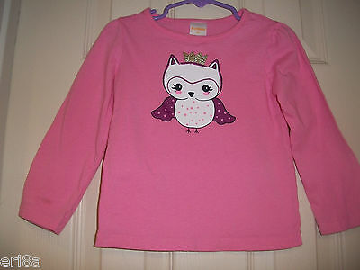 Euc Gymboree Baby Girl Glitter Crown Purple Owl Pink Top Shirt Long Sleeve 2T
