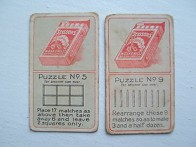 Wills Puzzle Cigarette Card, No.5 & No.9 issued in 1910
