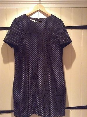 Hobbs Ladies Black And Camel Spot Shift Dress, Size 14