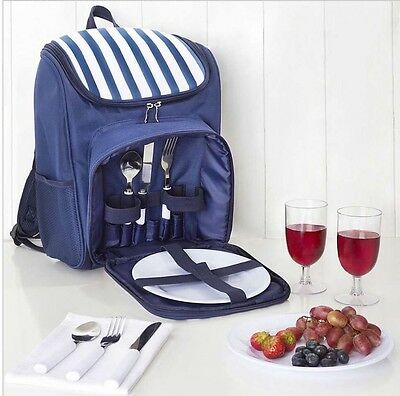 2 Person Blue Picnic Hamper Backpack Rucksack Bag With Cooler Compartment *NEW*