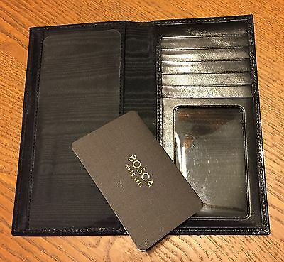 NWT BOSCA Old Leather Checkbook Card ID Window Case Black - Free US Shipping