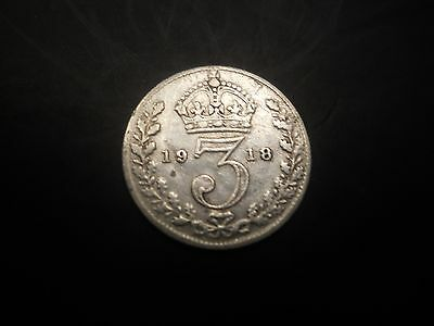 United Kingdom :3 Pence - George V 1st issue 1918 silver