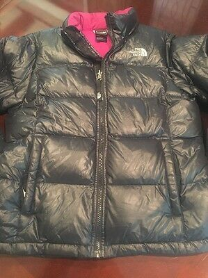 Girls The North Face Black Goose Down Jacket Coat Size 14-16 EUC