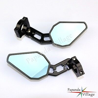 """Black Motorcycle 7/8"""" 1"""" Bar End Side Rearview Rear View Mirrors For Harley KTM"""