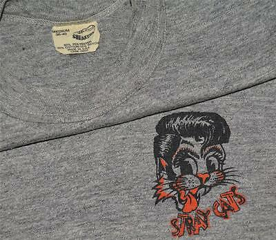 RaRe *1982-83 STRAY CATS* vtg concert shirt (S/M) 80s Rockabilly Rayon Triblend