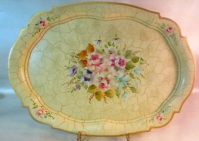 Vtg Wood Tray Hand Painted DENMARK Roses Daisies Poppies Flowers Bouquet Garden