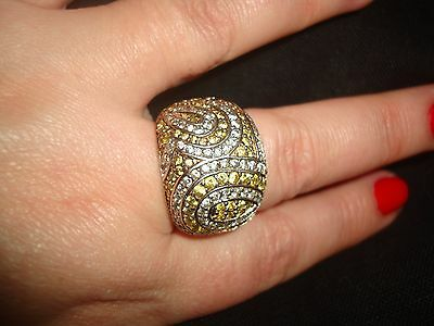 Hallmarked Silver 925 Ring With Yellow And White Cz Paisley Pave Stones-Size Q/s