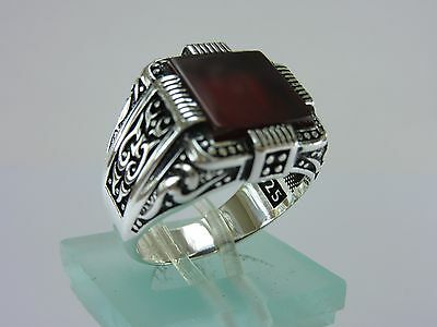 Turkish Handmade Ottoman Style 925 Sterling Silver Agate Men's Ring Size 11