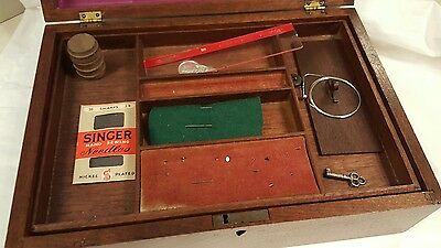 Antique Wooden Sewing Box Clark's Spool Cotton