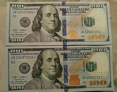 2 Sequential 2009 Series U.S $100 Dollar Currency Star Notes: Gem Uncirculated