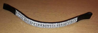 BLING!*Dressage*Mega-Sparkly Leather Browband*5-Row Crystals*CLEAR BLACK COB