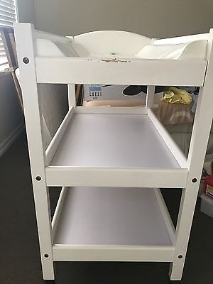 White Timber 3 Tiers Baby Change Table