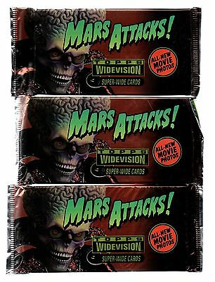 1996 Topps Widevision Mars Attacks 3 Sealed Packs Warner Bros
