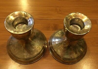 Vintage Sterling Silver.925 Weighted Candlesticks Used