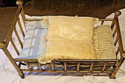 """ANTIQUE BRASS BABY CRIB WITH BOX SPRING, PILLOWS, MATTRESS LARGE 31""""x15""""x15"""" WOW"""
