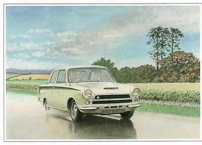 FORD LOTUS CORTINA Mk1--GREETINGS PRINT CARD--IDEAL BIRTHDAY