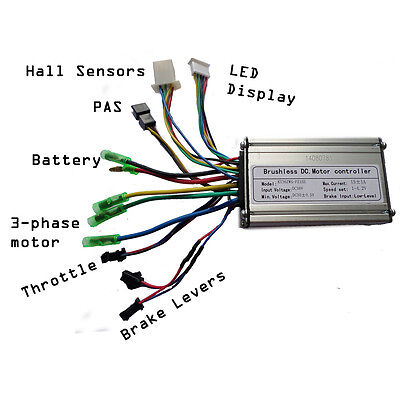 24V 250W eBike controller, hall effect, normal cable type