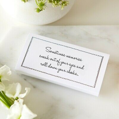 25 White Funeral Tissue Wraps - 'Sometimes Memories Sneak Out of Your Eyes'