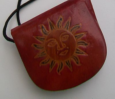 Leather Vintage Sun Face Coin Purse
