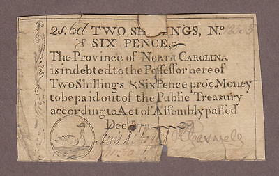 North Carolina Colonial Bank Note December 1771 Duck Vignette 2 Shilling 6 Pence