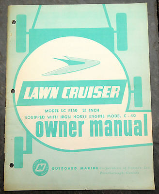 1960's Lawn-Cruiser LC8150 Canada Lawn Mower Owner's Manual Johnson Evinrude