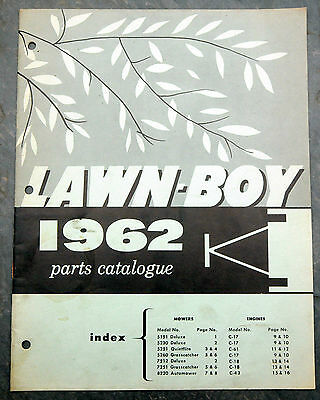 1962 Lawn-Boy Parts Catalogue Canada Lawn Mower Owner's Manual Johnson Evinrude