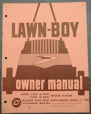 1960's Lawn-Boy 5150S & 7150S Canada Lawn Mower Owner's Manual Johnson Evinrude