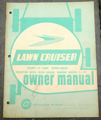 1960's Lawn-Cruiser LC5250 Canada Lawn Mower Owner's Manual Johnson Evinrude 2