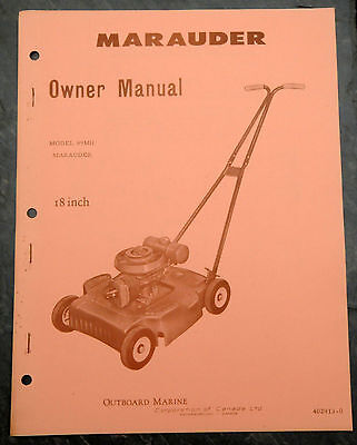 1950's Marauder 89MH Canada Lawn Mower Owner's Manual Johnson Evinrude Outboards