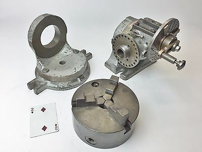"""ELLIS Inclining Dividing head (with Rigid & Swivel bases ) and 6"""" Skinner chuck"""