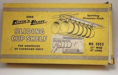 Vintage NOS CHROME SLIDING 12 CUP Hanger Shelf Holder Kitch'n Handy Under Shelf